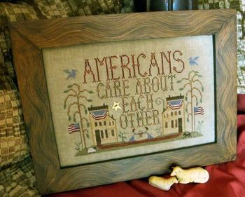 Homespun Elegance - Purely Sampler Collection - Americans Care About Each Other - Cross Stitch Pattern-Homespun Elegance, Purely Sampler Collection, Americans Care About Each Other, houses, american flags, lamb, stars,Cross Stitch Pattern,