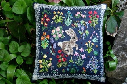 The Tapis-Tree - Hare in a Meadow-The Tapis-Tree - Hare in a Meadow, bunny, rabbits, Easter, spring, flowers. embroidery, crewel,