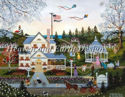 Heaven and Earth Designs - A Gentle Place - Cross Stitch Pattern-Heaven and Earth Designs, A Gentle Place, hometown, Americana, town square, patriotic, country, family life, Cross Stitch Pattern