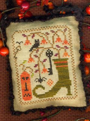 Homespun Elegance - A Halloween Year II - April - A Wicked Fancy Boot - Cross Stitch Pattern-Homespun Elegance,A Halloween Year II,April , A Wicked Fancy Boot, ornament, Halloween decoration, pin cushion, Cross Stitch Pattern