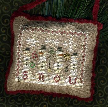 Homespun Elegance -2012 Snowman Ornament - Snowman Parade - Cross Stitch Pattern with Charm-Homespun Elegance, Snowman Ornament 2012, Snowman Parade, snowflakes, gold snowflake charm, pine tree, wreath,  Cross Stitch Pattern with Charm