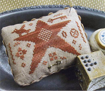Homespun Elegance - Star Light Sampler - Pin Cushion - Cross Stitch Pattern-Homespun,Elegance,Star Light Sampler, Pin cushion, Cross, Stitch, Pattern,animals, keys, primitive, pillow,