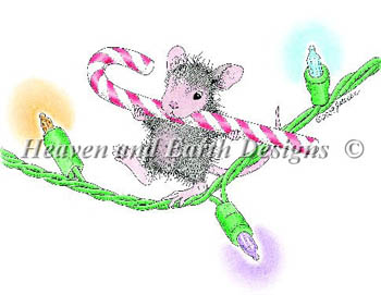 Heaven and Earth Designs - You Cane Light The Way - Cross Stitch Pattern-Heaven and Earth Designs, You Cane Light The Way, Christmas mouse, candy cane. Christmas lights, decorations, Cross Stitch Pattern
