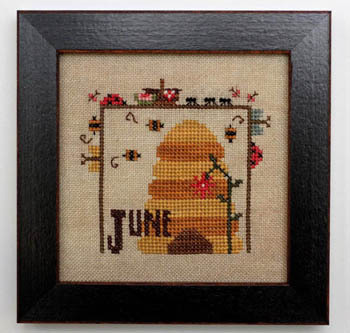 Heart in Hand Needleart - Joyful Journal - Part 07 of 12 - June-Heart in Hand Needleart - Joyful Journal - June , summer, beehive, bees, ladybugs, Cross Stitch Pattern