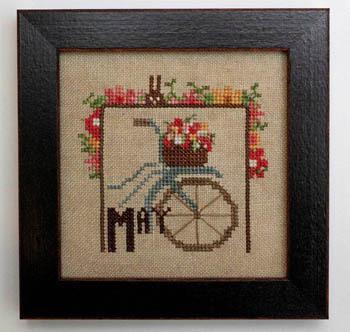 Heart in Hand Needleart - Joyful Journal - Part 06 of 12 - May-Heart in Hand Needleart - Joyful Journal - May - bicycle, flowers, spring,  Cross Stitch Pattern