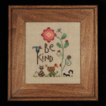 Heart in Hand Needleart - Be Kind - Cross Stitch Pattern-Heart in Hand Needleart, Be Kind, animals, kitty, cat, skunl, turtle, garden, ladybug, birds, flowers, Cross Stitch Pattern