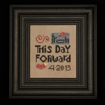 Heart in Hand Needleart - From this Day Forward - Cross Stitch Pattern with Embellishments-Heart in Hand Needleart, From this Day Forward, wedding sampler, anniversary sampler, romance, love, gold heart, pink beads, Cross Stitch Pattern with Embellishments,