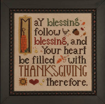 Heart in Hand Needleart - Thanksgiving Blessing - Cross Stitch Pattern-Heart in Hand Needleart, Thanksgiving Blessing,prayers,acorn, gold leaves, hearts, Cross Stitch Pattern