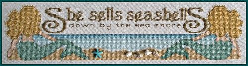 Hinzeit - Charmed - She Sells Sea Shells-Hinzeit - Charmed - She Sells Sea Shells - mermaid, sea shore, ocean,  Cross Stitch Pattern