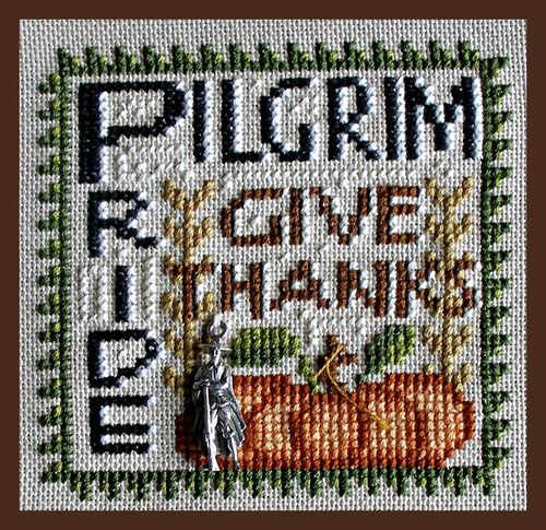 Hinzeit - Pilgrim Pride - Cross Stitch Pattern with Charm-Hinzeit, Pilgrim Pride, Thanksgiving, fall, pilgrims, indians, fall, pumpkins, turkey,  Cross Stitch Pattern with Charm