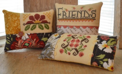 Hands On Design - Gather Friends Close - A Cushion Series - Part 2 - Friends - Cross Stitch Chart-Hands On Design, Gather Friends Close:, A Cushion Series - Part 2, pin cushions, cross stitch patterns, flowers,