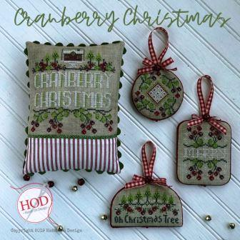 Hands On Design - Cranberry Christmas-Hands On Design - Cranberry Christmas, ornaments, pin cushions, cross stitch, Christmas, Christmas tree,