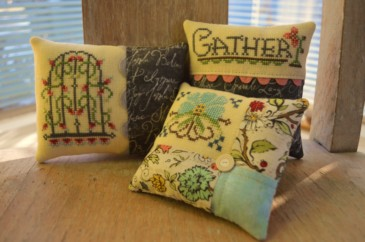 Hands On Design - Gather Friends Close - A Cushion Series - Part 1 - Gather-Hands On Design, Gather Friends Close Cushion Series, Part 1, pin cushions, samplers, Beach Cottage Stitchers,