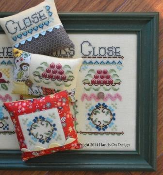 Hands On Design - Gather Friends Close - A Cushion Series - Part 3 - Close - Cross Stitch Chart-Hands On Design, Gather Friends Close,  A Cushion Series,  Part 3, Close, pincushions, Cross Stitch Chart