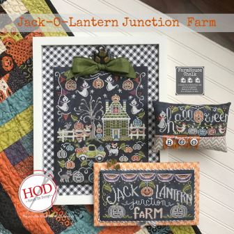 Hands On Design - Farmhouse Chalk - Jack-O-Lantern Junction Farm-Hands On Design - Farmhouse Chalk - Jack-O-Lantern Junction Farm, country, fall, pumpkin, cross stitch