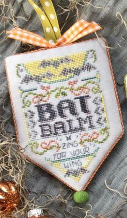Hands On Design - Scary Apothecary - Bat Balm-Hands On Design - Scary Apothecary - Bat Balm, Halloween, scary signs, bats, black cats, cross stitch,