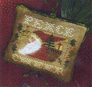 Homespun Elegance - 2011 Santa Ornament - Peace & Cheer Santa-Homespun Elegance, Santa Ornament 2011, Peace  Cheer Santa, Cross Stitch Pattern includes gold charm