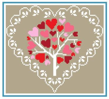 Heart of Turquoise - Heart Blooms-Heart of Turquoise - Heart Blooms, love, hearts, love, cross stitch