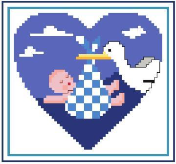 Heart of Turquoise - Special Delivery-Heart of Turquoise - Special Delivery, heart 6, baby, stork, love, cross stitch, heart,