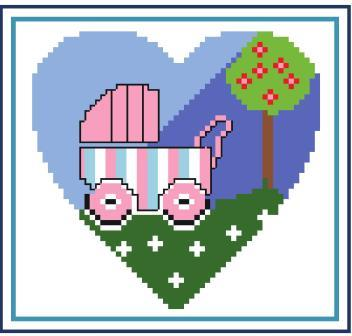 Heart of Turquoise - Baby Love-Heart of Turquoise - Baby Love, children, baby buggy, stroller, cross stitch