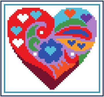 Heart of Turquoise - Field of Hearts-Heart of Turquoise - Field of Hearts, flowers, fields, heart, cross stitch