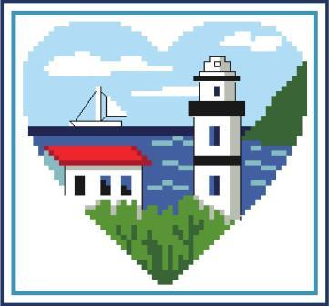 Heart of Turquoise - Lighthouse Heart-Heart of Turquoise - Lighthouse Heart, ocean, sunshine, cross stitch