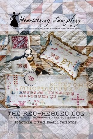 Heartstring Samplery - The Red Headed Dog Sampler-Heartstring Samplery - The Red Headed Dog Sampler, motifs, samplers, historic, cross stitch