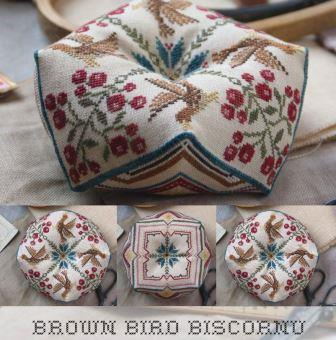 Heartstring Samplery - Brown Bird Biscornu-Heartstring Samplery - Brown Bird Biscornu, pin cushion, birds, flowers, cross stitch