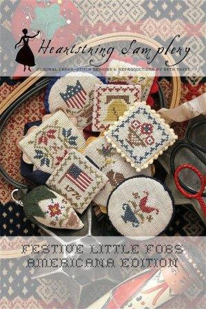 Heartstring Samplery - Festive Little Fobs - Americana Edition-Heartstring Samplery - Festive Little Fobs - Americana Edition, smalls, USA, patriotic, cross stitch, scissors,