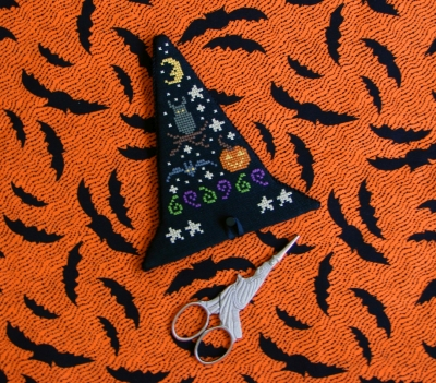 Historic Stitches - Witch's Hat Scissors Case-Historic Stitches - Witchs Hat Scissors Case, Halloween, scissors, pumpkin, owl, moon black hat, bat,