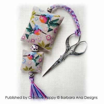 Barbara Ana Designs - Hummingbirds Scissor Fob-Barbara Ana Designs - Hummingbirds Scissor Fob - Cross Stitch Chart, birds,