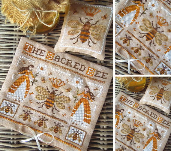The Little Stitcher - The Sacred Bee-The Little Stitcher - The Sacred Bee, queen bee, beehive, ladies, daisies, honey, cross stitch