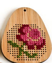 Red Gate Stitchery - Rose Bamboo Pendant - Cross Stitch Kit-Red gate Stitchery, Rose Bamboo Pendant, jewelry, necklace, flower, gifts, Cross Stitch Kit