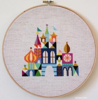 Satsuma Street - Pretty Little City-Satsuma Street - Pretty Little City, Its a Small World, Disneyland, Walt Disney, castle, cross stitch