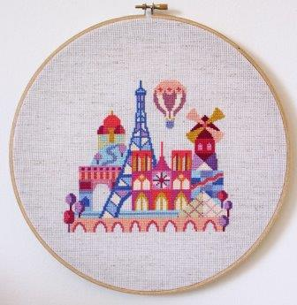 Satsuma Street - Pretty Little Paris-Satsuma Street - Pretty Little Paris, France, city, Eiffel Tower, cross stitch