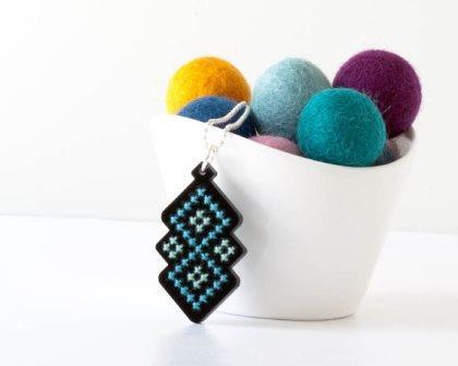 Red Gate Stitchery - Black Acrylic with Blue Diamond Pattern - Cross Stitch Necklace Kit-Red Gate Stitchery, Black Acrylic with Blue Diamond Pattern, Cross Stitch Necklace Kit