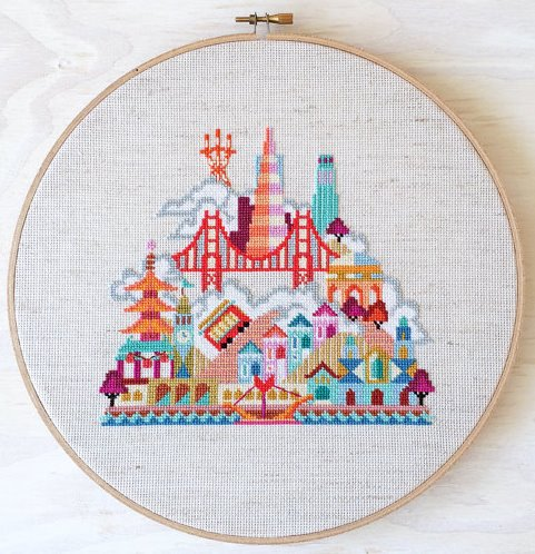 Satsuma Street - Pretty Little San Francisco-Satsuma Street - Pretty Little San Francisco, cable car, Golden Gate Bridge, city by the bay, fog, United States, cross stitch