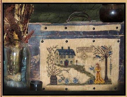 Kanikis - She Tends Her Gardens-Kanikis - She Tends Her Gardens, flowers, gardening, trees, forest, cross stitch, primitive, country, folk art, house,