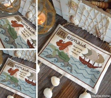 The Little Stitcher - The Little Mermaid-The Little Stitcher - The Little Mermaid, sea creatures, mermaids, ocean, swimming, sea shells, cross stitch