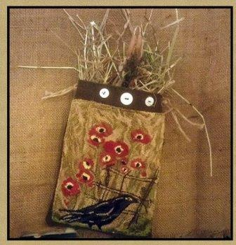 Kanikis - Poppy's & A Raven-Kanikis - Poppys  A Raven, primitive, bird, flowers, cross stitch, country, folk art,