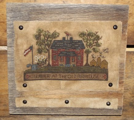 Kanikis - Summer at the Old Red House-Kanikis - Summer at the Old Red House, houses, country, summertime, American flag, beehive, cross stitch, primitive, country, folk art,