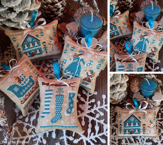The Little Stitcher - Blue Christmas-The Little Stitcher - Blue Christmas, The colors of Christmas, ornaments, Christmas, stockings, blue house, sleigh,