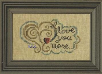 Bent Creek - I Love You More... - Cross Stitch Chart with Heart Button