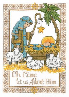 Imaginating - Adore Him-Imaginating, Adore Him, Jesus, Wise men, Star, Sheep, Christmas song, baby, manger, shepherd, God, Savior, Cross Stitch Pattern
