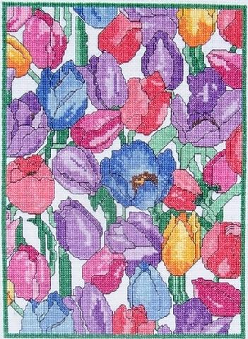 Ladybug Designs - Tulips-Ladybug Designs, Tulips, flowers, summer, spring, cross stitch pattern