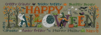 Imaginating - Halloween Happiness-Imaginating, Halloween Happiness, ghosts, witches, scary, creepy crawlers, pumpkins, nighttime, owls, bats, ghostly ghouly, squrimy sqishy, frogs, moon,dead trees, Cross Stitch Pattern