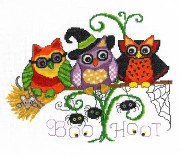 Imaginating - Halloween Hoots-Imaginating, Halloween Hoots, Halloween, owls, owl family, trick or treat, halloween costumes, candy, Cross Stitch Pattern