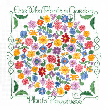 Imaginating - Plant Happiness-Imaginating, Plant Happiness, flowers, saying, happy, pillow top, Cross Stitch Chart