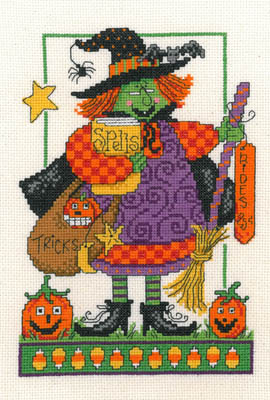 Imaginating - Tricks And Spells-Imaginating, Tricks And Spells, Halloween, witch, pumpkins, book of spells, broom, candy corn, Cross Stitch Pattern