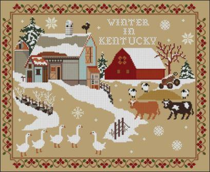 Twin Peak Primitives - Winter in Kentucky-Twin Peak Primitives - Winter in Kentucky, snow, barn, farm, country, cross stitch